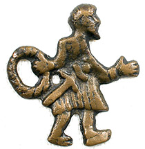 """Vikinga"" figūriņa.  Daugmales pilskalns. 11. gs. Bronza."