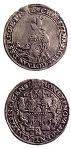 Dālderis.  Kalts Rīgā 1639. gadā Zviedrijas karalienes Kristīnas valdīšanas laikā. Sudrabs.