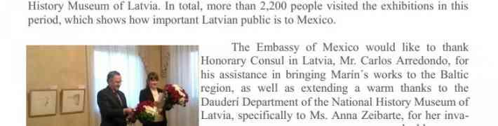 Meksikas vēstniecība Stokholmā raksta par izstādi Dauderos