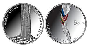 Baltijas ceļa 25 gadu jubilejai veltītā monēta atzīta par labāko pasaulē