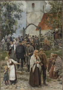 Janis Rozentāls. Pēc dievkalpojuma (Baznīcas gājiens). 1894. Latvijas Nacionālā mākslas muzeja krājums